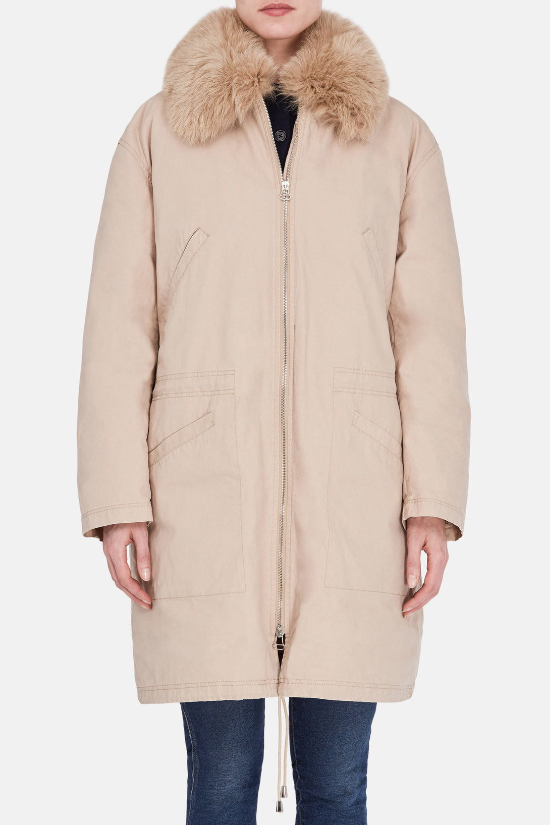 Cotton Coat with Nylon Lining and Fox Collar - Sand