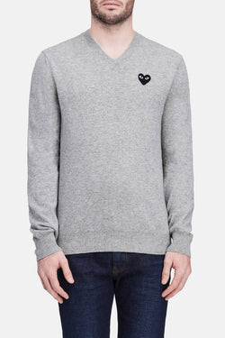 Black Play Unisex V-Neck Sweater - Light Grey
