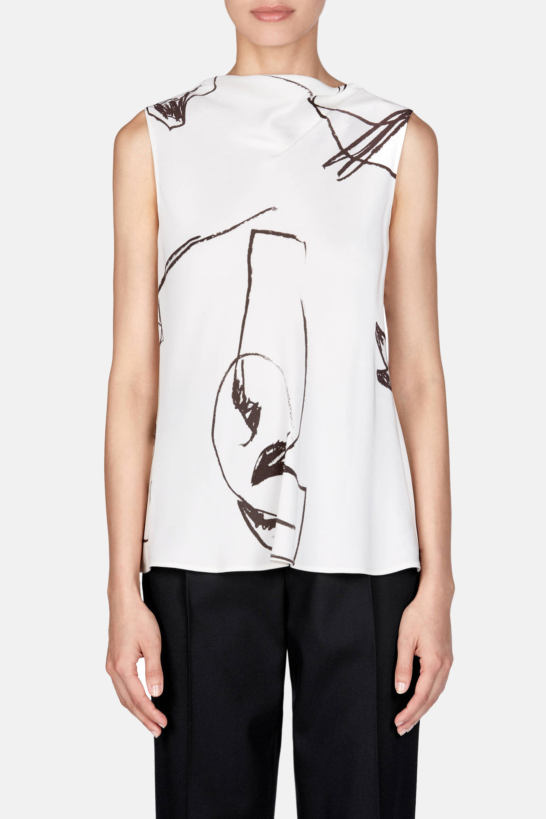 Shirt 35 Drape Back Top - Scrawl Print