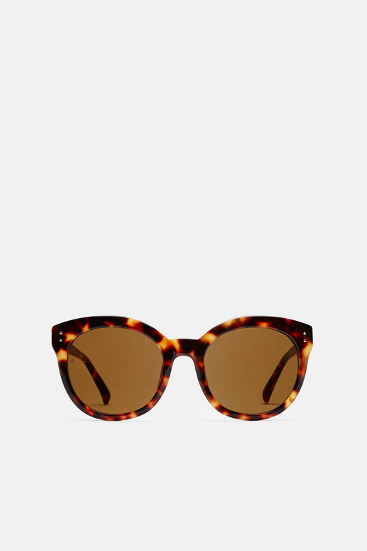 Rounded Cat Eye Sunglasses - T-Shell/Yellow Gold/Solid Brown