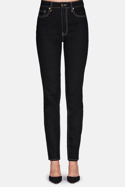 Vanessa High Rise Straight Jean - Black Rinse w/Ivory