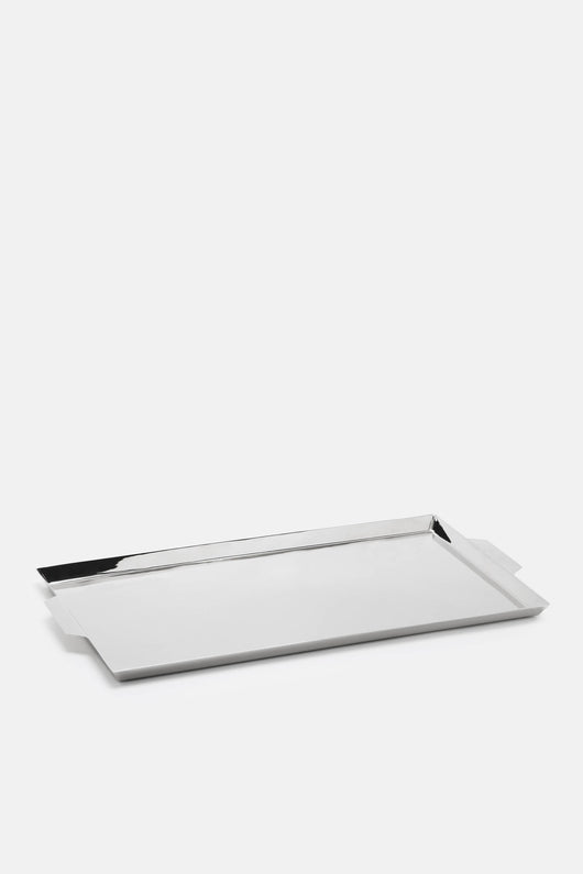 Nickel-Plated Brass Tray with Handles