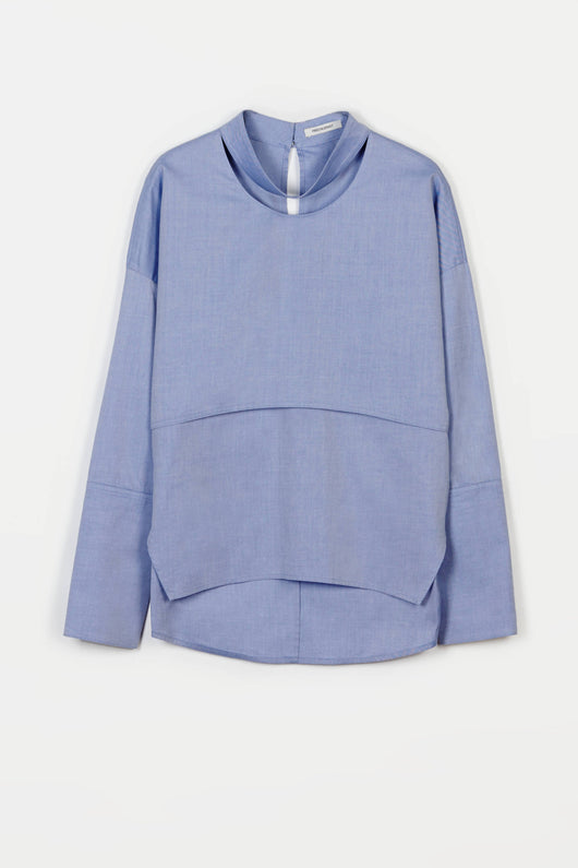 Shirt 02 Long Sleeve Collarbone Shirt - Blue