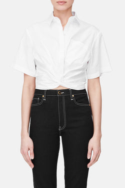 Twist Front Cropped Shirt - White