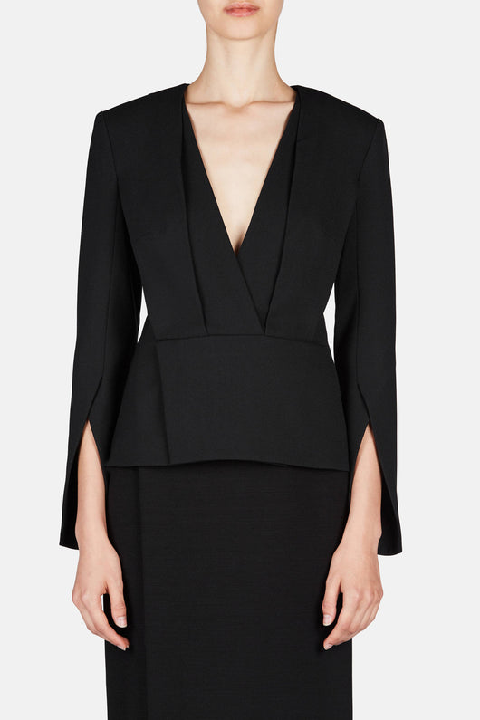 Shirt 28 Deep V Tailored Top - Jet Black