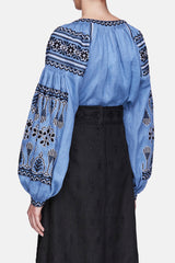 Embroidered Blouse - Blue