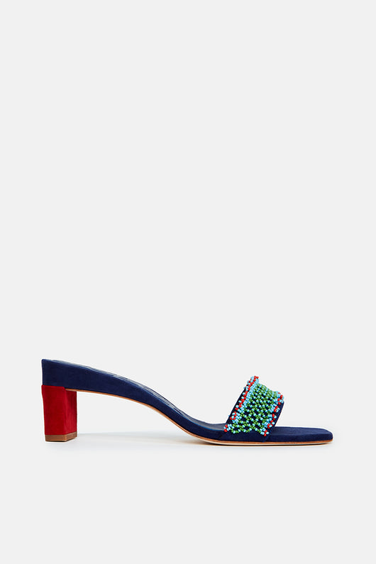 Beaded Mule 55 - Navy Blue/Multicolor