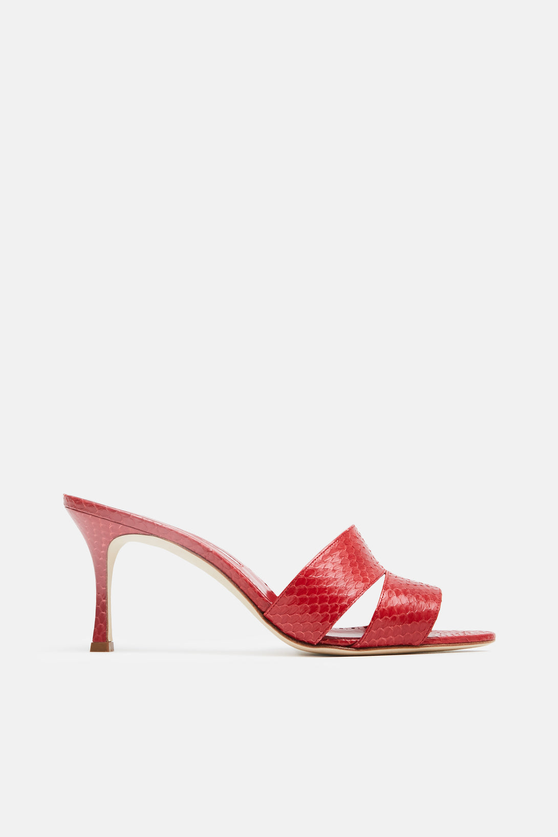 Iacopo Heeled Mule - Snake Rosso Red