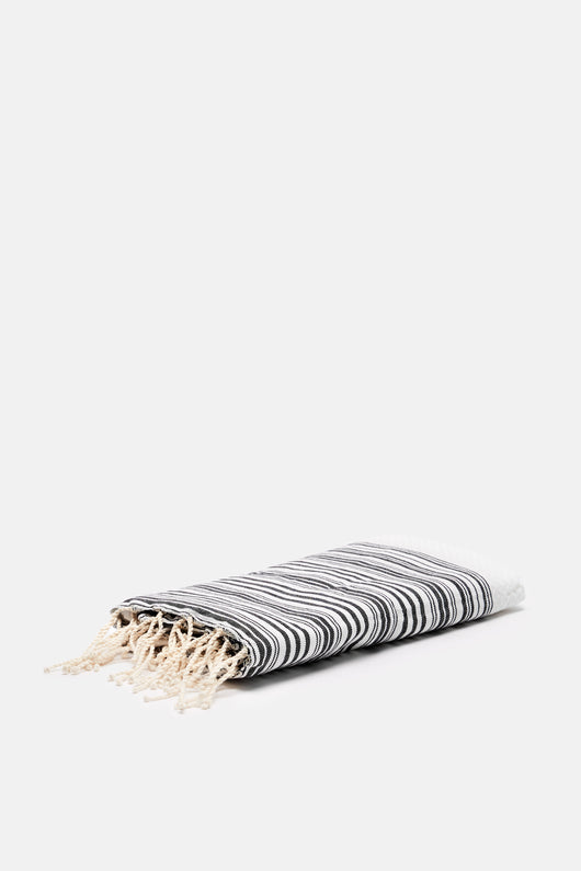 Honeycomb Fouta with Thin Stripes - White/Black