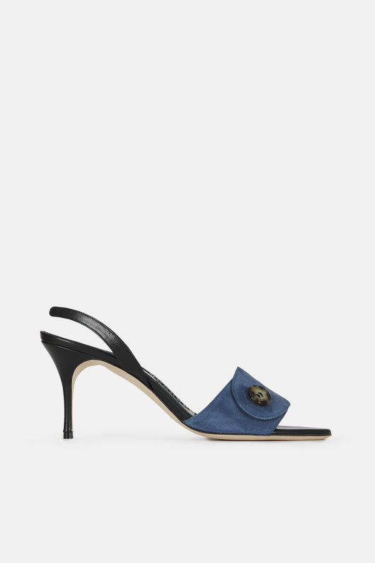 Lenina Button Slingback - Nordic Blue Suede