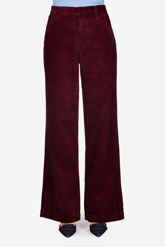 The Flat Front Trouser - Burgundy