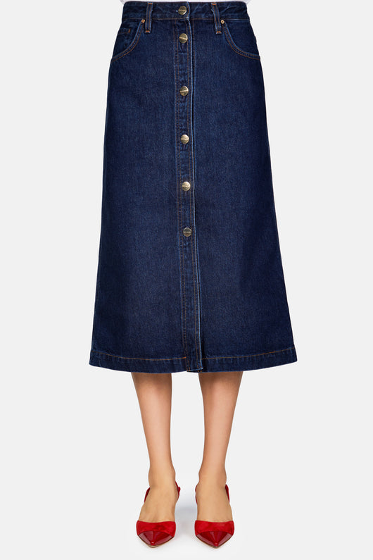 The Button Front Skirt - Easton