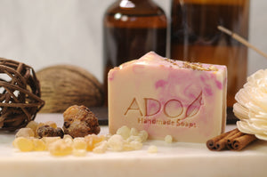Esther Soap Surrounded by Fragrant Resins Apothecary Jars and Incense