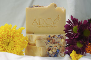 Eve Handmade Soap Surrounded by Fresh Flowers
