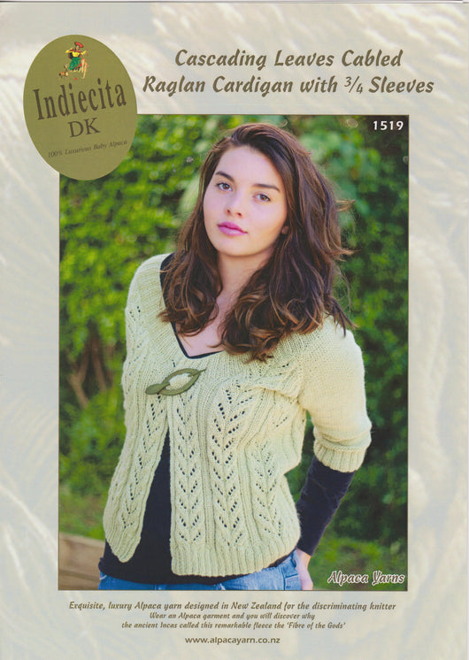 Cascading Leaves Cabled Raglan Cardigan with 3/4 Sleeves
