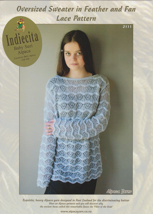 Oversized Sweater in Feather and Fan Lace Pattern