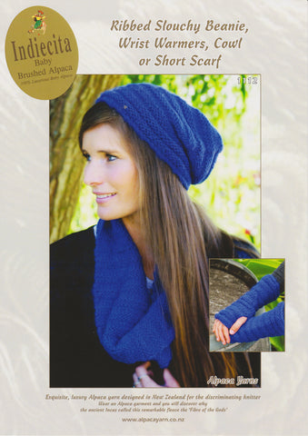 Ribbed Slouchy Beanie, Wrist Warmers and Cowl or Short Scarf