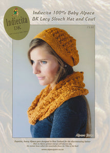 Indiecita Baby Alpaca DK Lacy Slouch Hat and Cowl