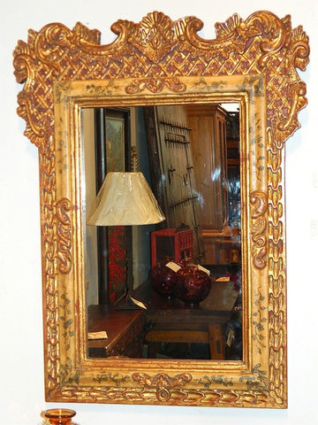 Reproduction polychromed and gilt Spanish colonial mirror frame with carved cross-hatching, cachimbo hardwood