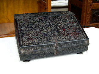 #ART-007 Slant-top tooled leather Spanish colonial writing box