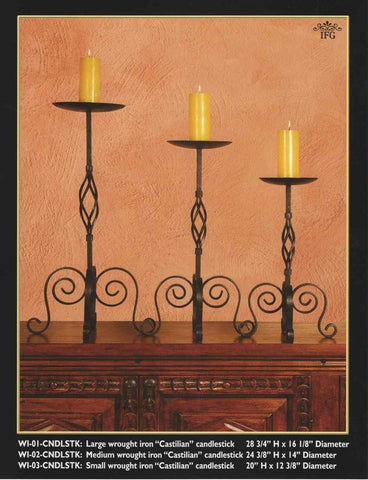 "Set of 3 Reproduction Wrought Iron ""Castilian"" Candlesticks"