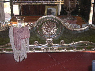 #AC1616-GR Carved King Size Bed (Green)