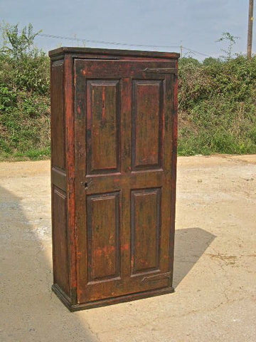 Antique heavily carved four-door, two-drawer pantry cabinet, chestnut