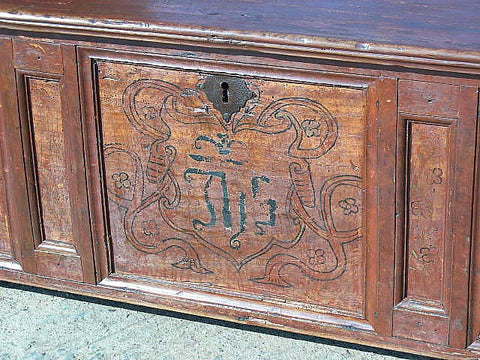 Antique painted Renaissance dowry chest, pine & birch