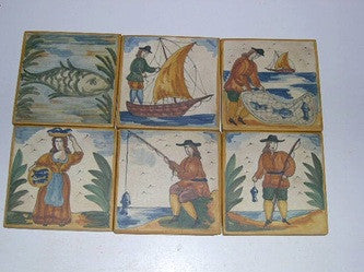 Set of 6 Hand-Painted Catalonian Fishing Scene Tiles