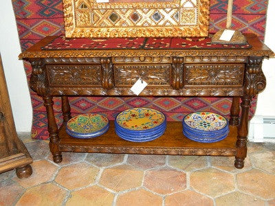 #AC1837 Carved and Turned Portuguese Console Table, Cachimbo Hardwood