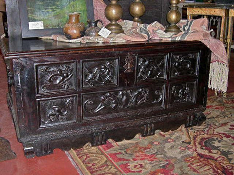 Antique carved Spanish Renaissance dowry chest, walnut