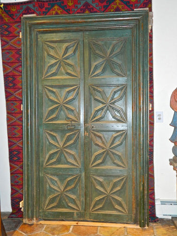 Antique two-panel painted Charles IV door with original frame, pine