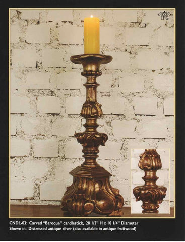 "Reproduction Carved and silvered ""Baroque"" Candlestick, cachimbo hardwood"