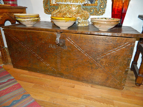 Antique carved French Basque dowry chest with fleur de lis design, chestnut