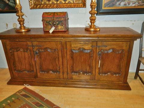 Carved four-door diamond panel reproduction sideboard / credenza, cachimbo hardwood