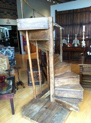 Antique New Mexican spiral staircase, ponderosa pine