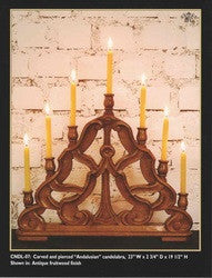 "Reproduction Carved and Pierced ""Andalusian"" Candelabra, Cachimba Hardwood"