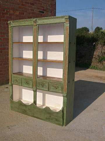Antique pharmacy cabinet with painted interior, walnut