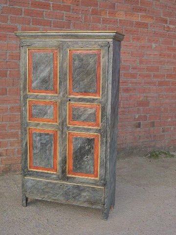 Antique two-door, one-drawer painted faux marble armoire, pine