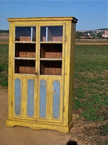 Antique painted two-door pantry cabinet, pine