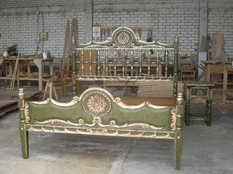 "Carved black and and silver leaf king-size ""Medallion"" bed, cachimbo hardwood"