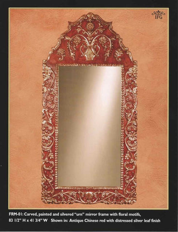 "Reproduction carved, painted and silvered or gilt ""Urn"" mirror, cachimbo hardwood"