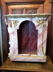 Antique carved, polychromed and gilt niche box, chestnut