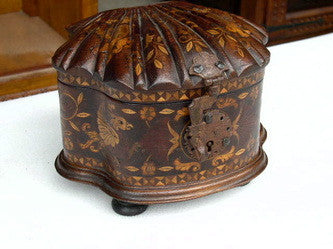 #ART-004 Carved and Inlaid Mixed Wood Shell Box