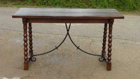 Antique beaded leg console table with iron stretchers, walnut