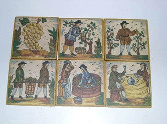Set of six painted wine-making tiles