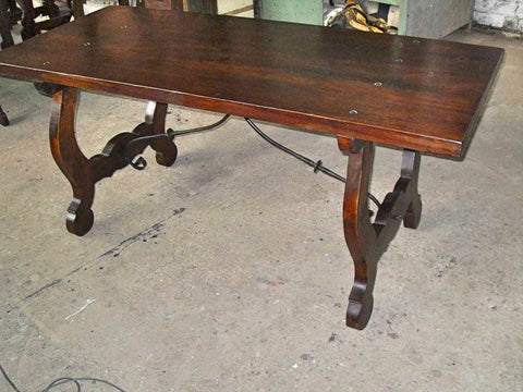 Antique walnut lyre leg writing table with iron stretchers