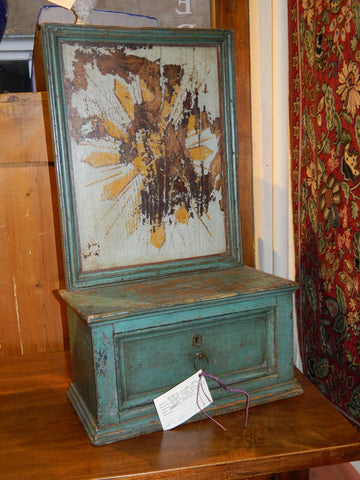 Antique painted alms box, chestnut