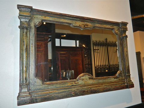 Antique painted mirror frame, chestnut