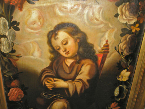 "#5157, ""Contemplation of the Holy Child"", Oil painting on linen"